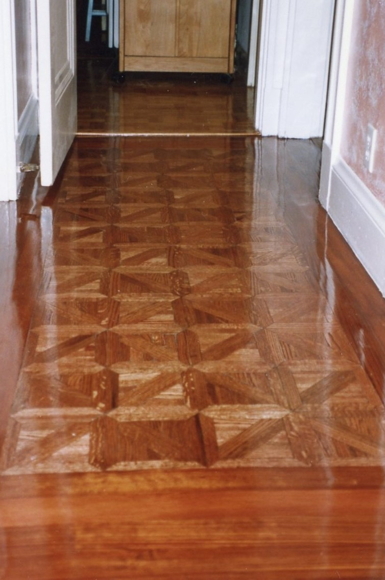 Canteberry Pattern Parquet Antique Heart Pine Border Stained Sedona Red.  Tags: Dark Stained Hardwood Floors ...