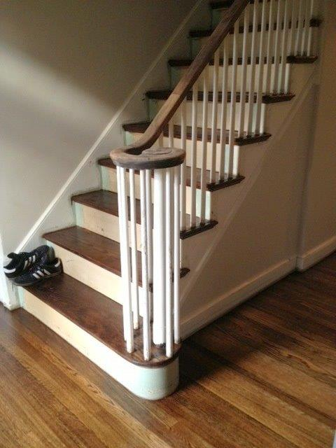 White Oak Wood Stair Treads Stained Spice Brown