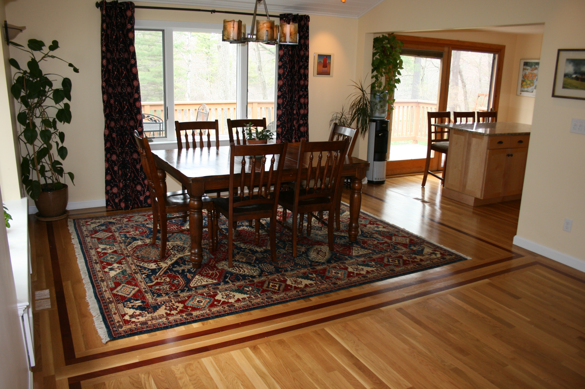 Wood Flooring Borders Divide Living Space